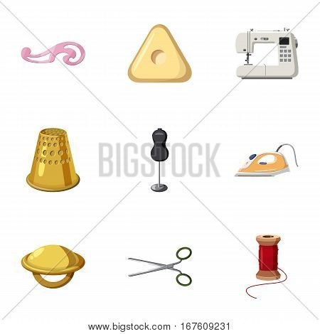 Range of tools for dressmakers icons set. Cartoon illustration of 9 range of tools for dressmakers vector icons for web