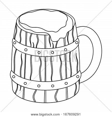 Viking ale icon in outline design isolated on white background. Vikings symbol stock vector illustration. - stock vector