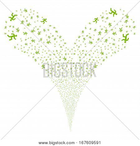 Running Man fireworks stream. Vector illustration style is flat eco green iconic symbols on a white background. Object double fountain done from random symbols.