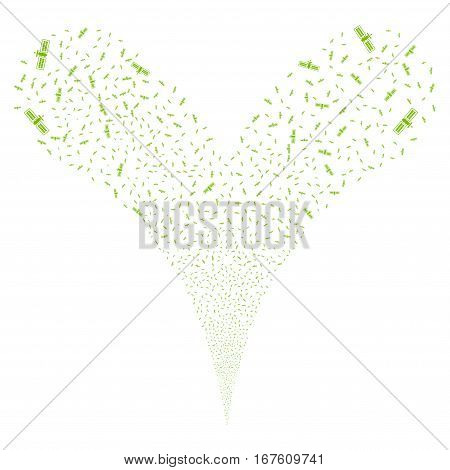 Satellite fireworks stream. Vector illustration style is flat eco green iconic symbols on a white background. Object double fountain made from random pictographs.