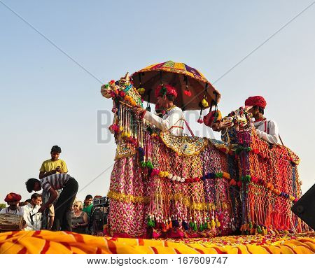 Rajasthani Folk Dancers In Colorful Perform