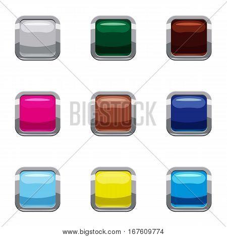 Click internet button icons set. Cartoon illustration of 9 click internet button vector icons for web
