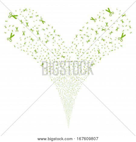 Scissors fireworks stream. Vector illustration style is flat eco green iconic symbols on a white background. Object double fountain constructed from random design elements.