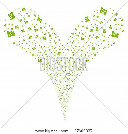 Script Roll fireworks stream. Vector illustration style is flat eco green iconic symbols on a white background. Object double fountain created from random icons.