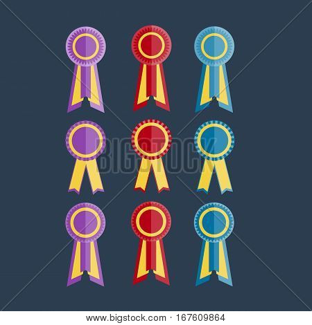 purple, red and blue award rosettes with ribbon on the dark blue background