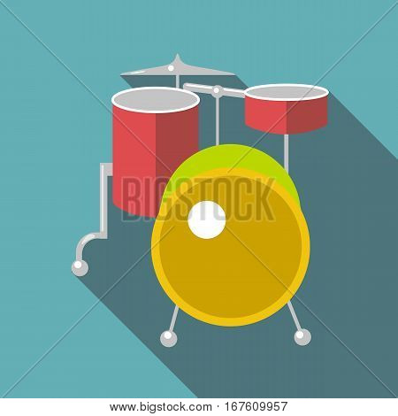 Drum kit icon. Flat illustration of drum kit vector icon for web design