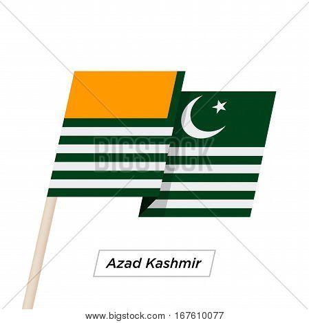 Azad Kashmir Ribbon Waving Flag Isolated on White. Vector Illustration. Azad Kashmir Flag with Sharp Corners
