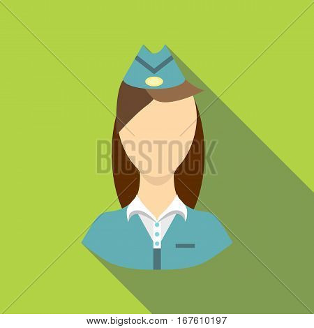 Stewardess icon. Flat illustration of stewardess vector icon for web design