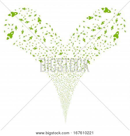 Space Rocket fireworks stream. Vector illustration style is flat eco green iconic symbols on a white background. Object double fountain constructed from random symbols.