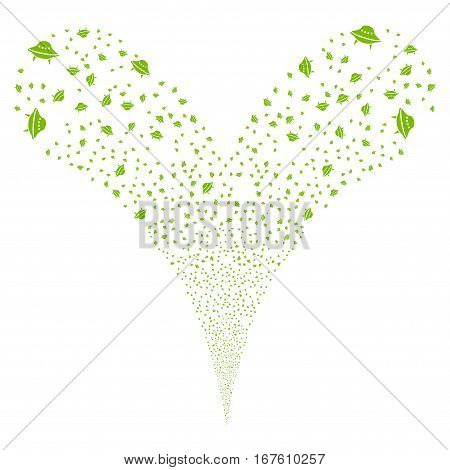 Space Ship fireworks stream. Vector illustration style is flat eco green iconic symbols on a white background. Object double fountain constructed from random design elements.