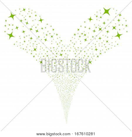 Space Star fireworks stream. Vector illustration style is flat eco green iconic symbols on a white background. Object double fountain constructed from random pictographs.