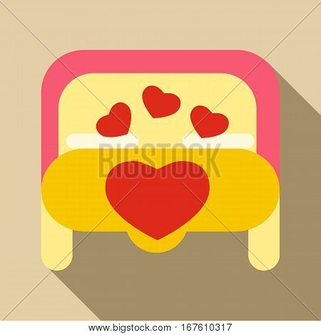 Double bed icon. Flat illustration of double bed vector icon for web design