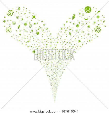 Space Symbols fireworks stream. Vector illustration style is flat eco green iconic symbols on a white background. Object double fountain made from random pictograms.
