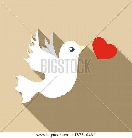 Wedding dove icon. Flat illustration of wedding dove vector icon for web design