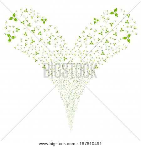 Stomatology fireworks stream. Vector illustration style is flat eco green iconic symbols on a white background. Object double fountain organized from random pictograms.