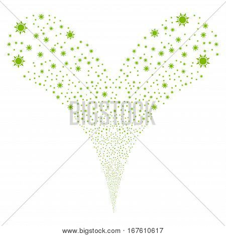 Sun fireworks stream. Vector illustration style is flat eco green iconic symbols on a white background. Object double fountain created from random pictographs.