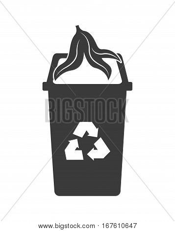 banana peel and trash bucket with recycle sign icon over white background. vector illustration