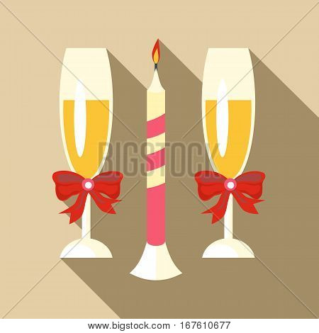 Two champagne glasses icon. Flat illustration of two champagne glasses vector icon for web design