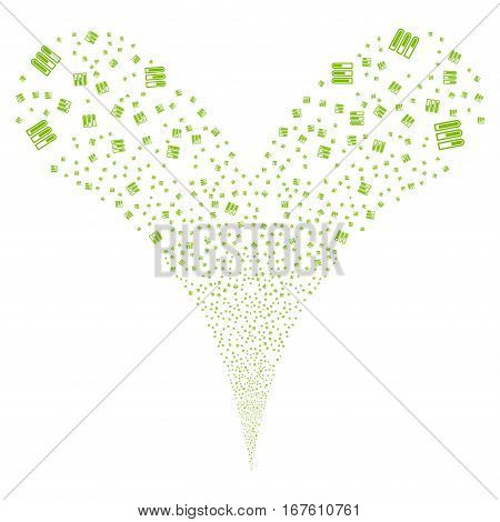 Test Tubes fireworks stream. Vector illustration style is flat eco green iconic symbols on a white background. Object double fountain combined from random pictograms.