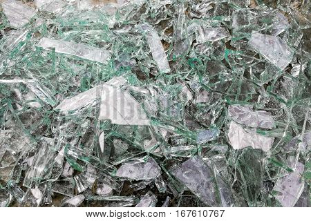 Heap Of Sharp Shattered Pieces Broken Glass On Ground