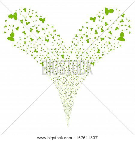 User fireworks stream. Vector illustration style is flat eco green iconic symbols on a white background. Object double fountain constructed from random pictographs.