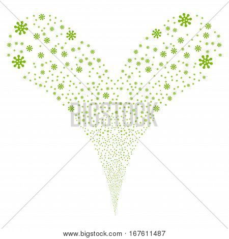 Virus fireworks stream. Vector illustration style is flat eco green iconic symbols on a white background. Object double fountain combined from random pictographs.