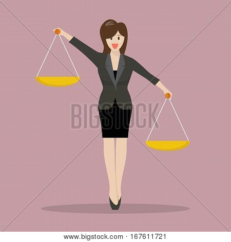 Business woman carrying a balance scale with both hands. Vector illustration