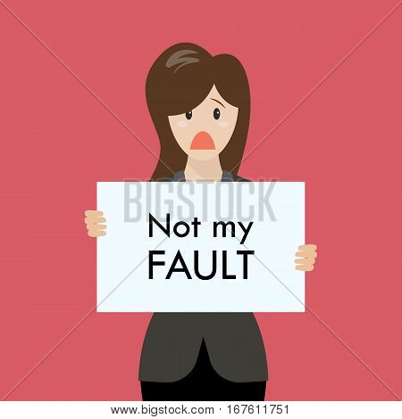 Business woman showing sign not my fault failed. Vector Illustration