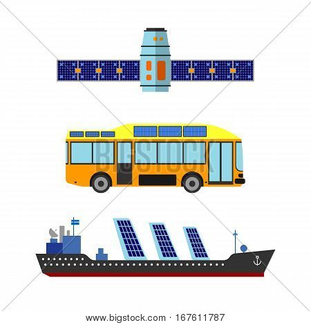 Ship, bus and satellite sun energy vector illustration. Eco transportation ecology environment solar vehicle technology. Alternative industry sunlight ecological panel.
