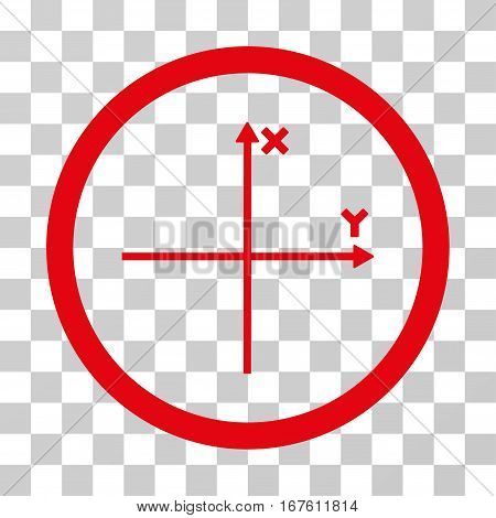 Coordinate Axis rounded icon. Vector illustration style is flat iconic bicolor symbol inside a circle intensive red and black colors transparent background. Designed for web and software interfaces.