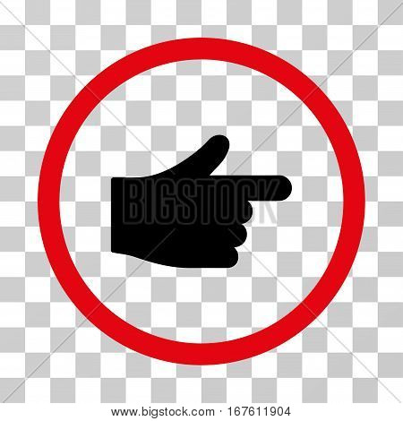 Index Hand rounded icon. Vector illustration style is flat iconic bicolor symbol inside a circle intensive red and black colors transparent background. Designed for web and software interfaces.