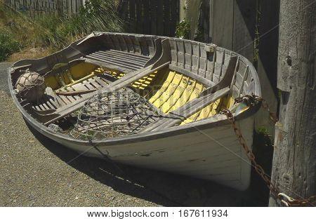 An old lobster fisherman's clinker built dinghy