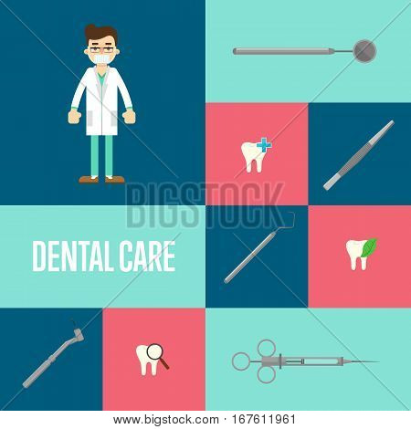 Dental care square composition with instrument icons and male dentist in medical uniform standing. Healthy clean teeth. Dental treatment and hygiene. Tooth care and restoration. Dental office banner