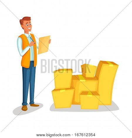 Warehouse worker checking goods. Concept courier character deliver boxes. Cartoon style vector illustration isolated on white background. Delivery man with the tablet counts the cargo.