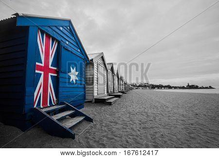 Australia Flag On A Beach Hut. A Bathing Beach Box Painted With Australia Flag.