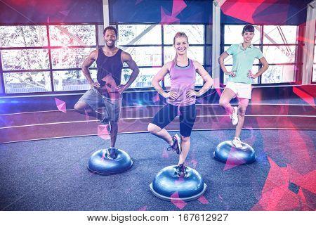 Fitness class on bosu balls