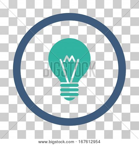 Hint Bulb rounded icon. Vector illustration style is flat iconic bicolor symbol inside a circle cobalt and cyan colors transparent background. Designed for web and software interfaces.
