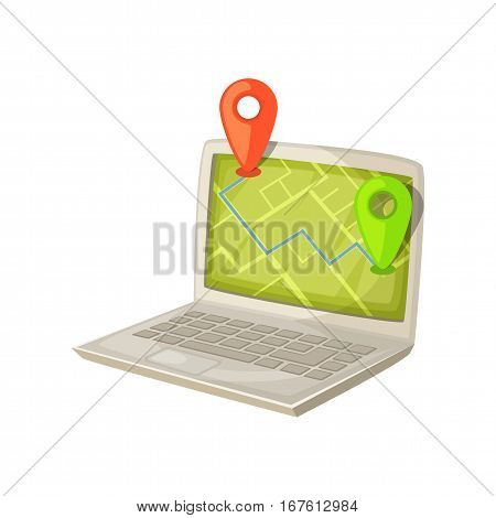 Navigation application on laptop computer screen. Map with GPS location mark displayed on portable PC monitor. Delivery and shipping concept cartoon vector illustration.