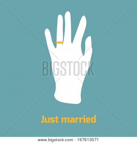 Flat style image of hand with ring on ring finger. Just married concept