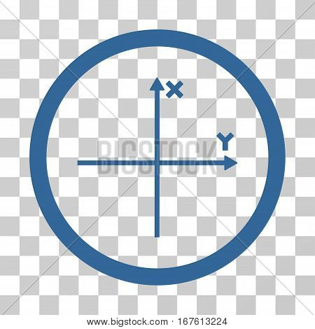 Coordinate Axis rounded icon. Vector illustration style is flat iconic bicolor symbol inside a circle cobalt and gray colors transparent background. Designed for web and software interfaces.