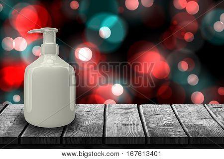 Gray dispenser bottle against digitally generated twinkling light design 3d