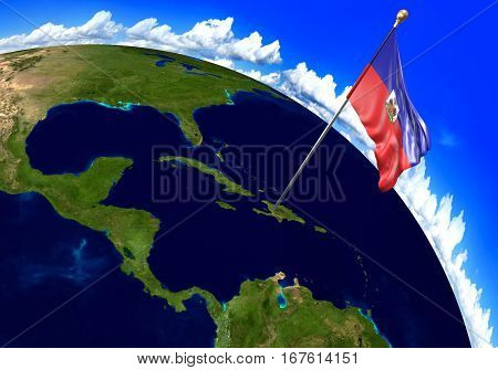 Haiti national flag marking the country location on world map. 3D rendering, parts of this image furnished by NASA