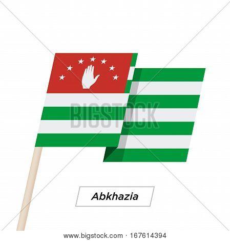 Abkhazia Ribbon Waving Flag Isolated on White. Vector Illustration. Abkhazia Flag with Sharp Corners