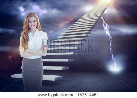 Portrait of an elegant businesswoman in office against lightning strikes on landscape 3d