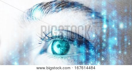 Digitally generated black and blue matrix against beautiful woman looking away
