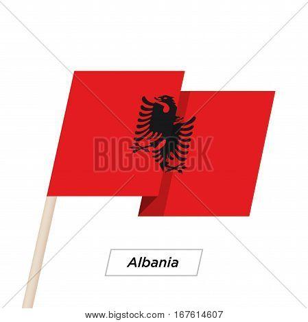 Albania Ribbon Waving Flag Isolated on White. Vector Illustration. Albania Flag with Sharp Corners