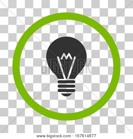 Hint Bulb rounded icon. Vector illustration style is flat iconic bicolor symbol inside a circle eco green and gray colors transparent background. Designed for web and software interfaces.
