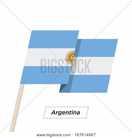 Argentina Ribbon Waving Flag Isolated on White. Vector Illustration. Argentina Flag with Sharp Corners