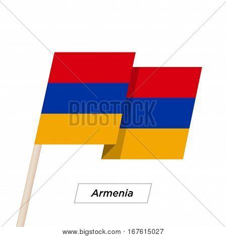 Armenia Ribbon Waving Flag Isolated on White. Vector Illustration. Armenia Flag with Sharp Corners