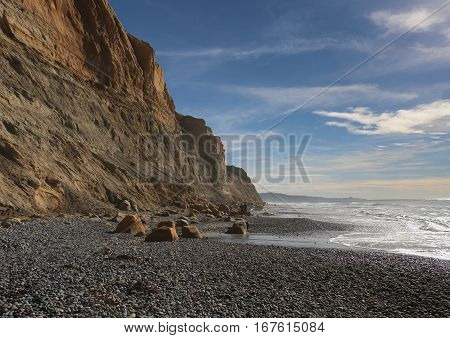 Torrey Pines State Reserve Beach, La Jolla, CA in winter